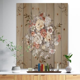 'White and Yellow Floral Pattern' Floral Print on Natural Pine Wood