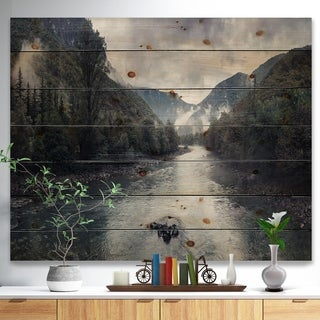 Designart 'Mountain River with Fog and Rain' Modern Seascape Print on Natural Pine Wood - Green
