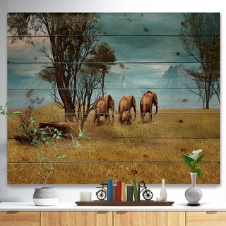 Designart 'African Elephants Panorama' African Print on Natural Pine Wood - Green
