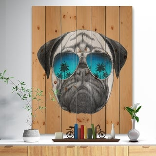 Designart 'Funny Dog with Blue Glasses' Animal Print on Natural Pine Wood