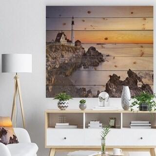 Designart 'Portland Head Lighthouse Maine' Modern Seascape Print on Natural Pine Wood - Multi-color