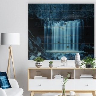 Designart 'Waterfalls in Wood Black and White' Landscape Print on Natural Pine Wood - Blue