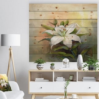 'White Lily Flower Oil Painting' Floral Print on Natural Pine Wood - White