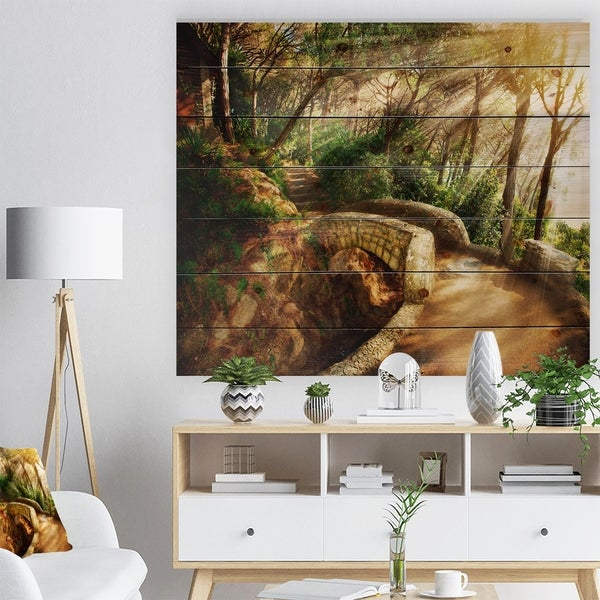 Designart 'Bright Sun in Mystical Park' Landscape Print on Natural Pine Wood - Green