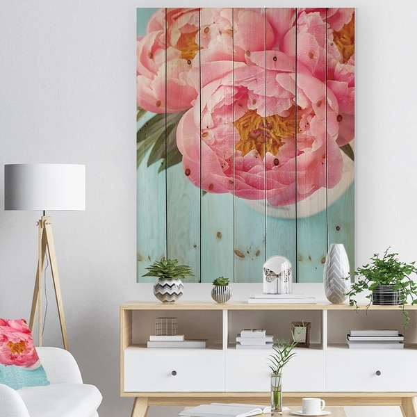 Designart 'Bunch of Light Pink Peony Flowers' Farmhouse Floral Print on Natural Pine Wood