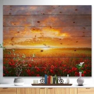 Designart 'Poppy Field under Bright Sunset' Landscape Print on Natural Pine Wood - Multi-color