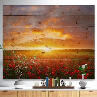 Designart 'Poppy Field under Bright Sunset' Landscape Print on Natural Pine Wood - Multi-color