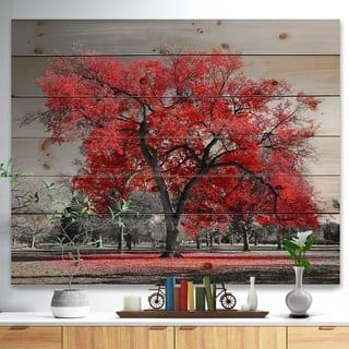Designart 'Big Red Tree on Foggy Day' Landscape Print on Natural Pine Wood