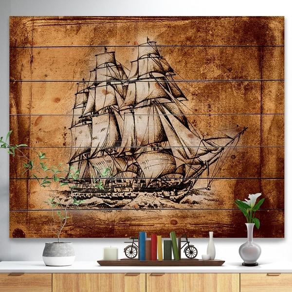 Designart 'Ancient Sailboat Drawing' Seashore Print on Natural Pine Wood - Multi-color