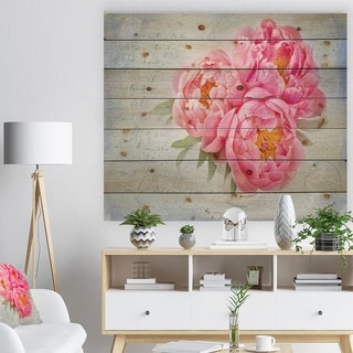 Designart 'Pink Peony Flowers in White Vase' Floral Farmhouse Print on Natural Pine Wood