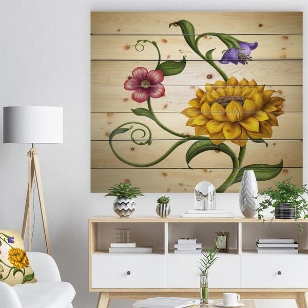 Designart 'Flowers and Leaves Illustration' Floral Print on Natural Pine Wood - Multi-color