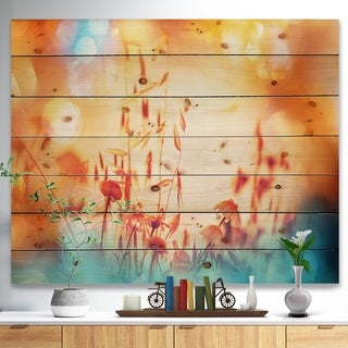Designart 'Beautiful Little Summer Flowers View' Floral Print on Natural Pine Wood - YELLOW