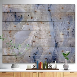 Designart 'Agate Stone Background' Abstract Print on Natural Pine Wood - White