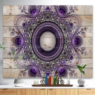 Designart 'Purple Fractal Pattern with Circles' Abstract Print on Natural Pine Wood - Purple