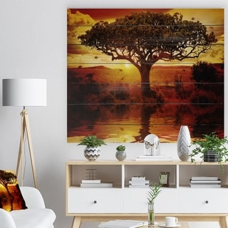 Designart 'Lonely Tree in African Sunset' African Landscape Print on Natural Pine Wood - Yellow