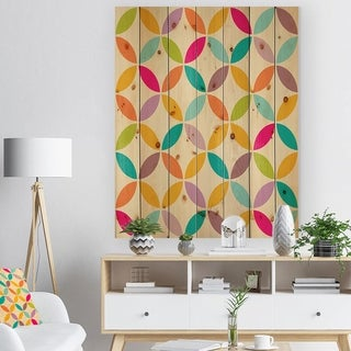 Designart 'Vintage abstract seamless pattern' Contemporary Art Print on Natural Pine Wood - Multi-color