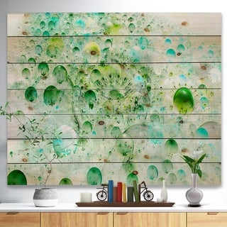 Designart 'Green Blue Fractal Molecules' Abstract Print on Natural Pine Wood - Green