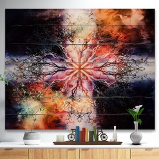 Designart 'Mandala with Tree Pattern' Abstract Print on Natural Pine Wood - Multi-color