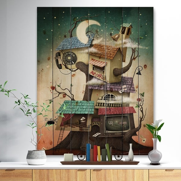 Designart 'Colorful house on tree in Stary Night' Contemporary Art Print on Natural Pine Wood - Blue