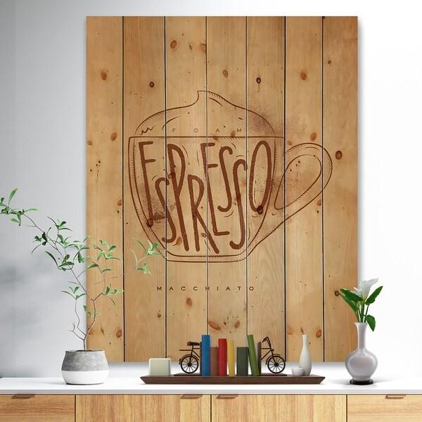 Designart 'Macciato cup craft' Food Painting Print on Natural Pine Wood - Brown