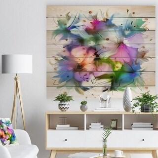'Watercolor Floral Bouquet' Floral Print on Natural Pine Wood - Blue