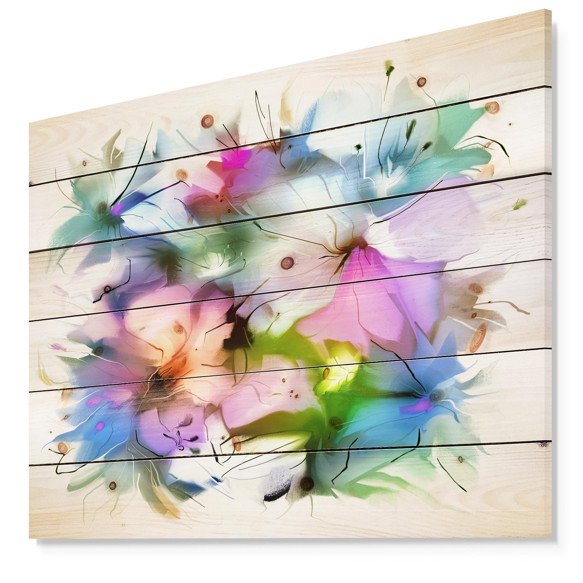 Shop Designart Watercolor Floral Bouquet Floral Print On Natural