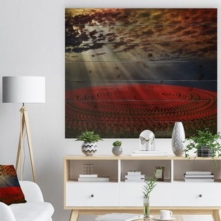 Designart 'Beautiful Circled Flower Fields' Floral Print on Natural Pine Wood - Red