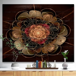 Designart 'Dark Gold Red Fractal Flower Pattern' Floral Print on Natural Pine Wood