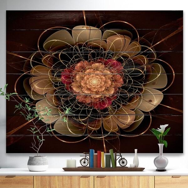 Designart 'Dark Gold Red Fractal Flower Pattern' Floral Print on Natural Pine Wood