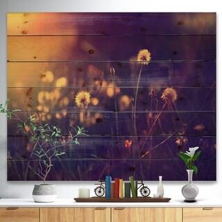 Designart 'Vintage Dandelion Meadow Photo' Floral Print on Natural Pine Wood - Purple