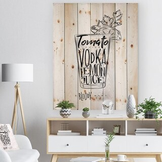 Designart 'Bloody mary cocktail' Food Painting Print on Natural Pine Wood - White