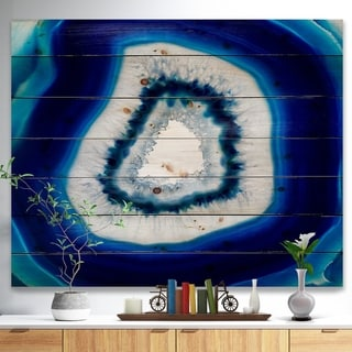 Designart 'Slice of blue agate crystal' Stone Photographic Print on Natural Pine Wood