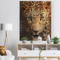 Designart 'Leopard Face Close Up' Abstract Print on Natural Pine Wood - Brown
