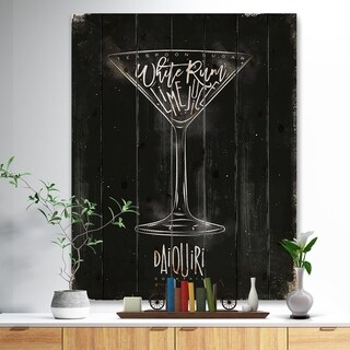 'Daiquiri cocktail chalk' Food Painting Print on Natural Pine Wood - Black