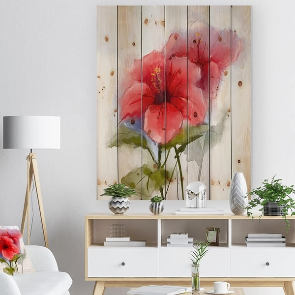 Designart 'Watercolor Painting Red Hibiscus Flower' Floral Print on Natural Pine Wood