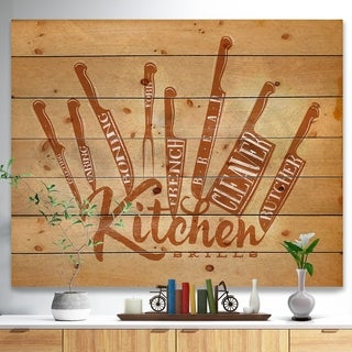 'Meat cutting knifes poster craft' Food Painting Print on Natural Pine Wood - Brown