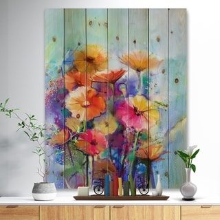 Designart 'Abstract Floral Watercolor Painting' Floral Print on Natural Pine Wood - Blue
