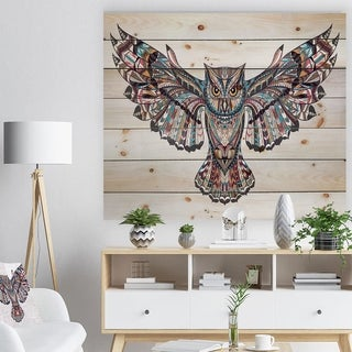Designart 'Owl on the Grudge' Animals Painting Print on Natural Pine Wood - White