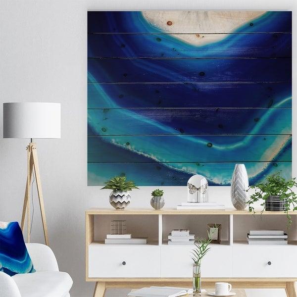 Designart 'Blue Slice agate crystal' Stone Photographic Print on Natural Pine Wood - Blue