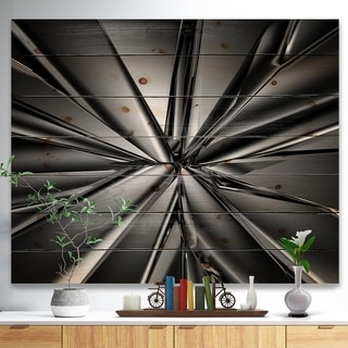 Designart 'Futuristic Crystal Background' Abstract Print on Natural Pine Wood - Multi-color