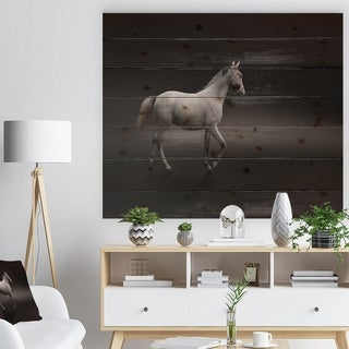 Designart 'Gray Horse' Farmhouse Animals Photographic Print on Natural Pine Wood - Black