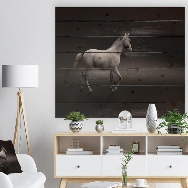 Designart 'Gray Horse' Farmhouse Animals Photographic Print on Natural Pine Wood - Black