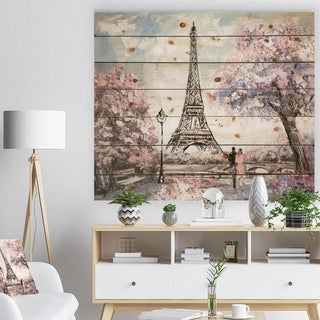 Designart 'Eiffel with Pink Flowers' Landscape Print on Natural Pine Wood