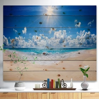 Designart 'Beautiful Tropical Beach Panorama' Modern Seashore Print on Natural Pine Wood - Blue