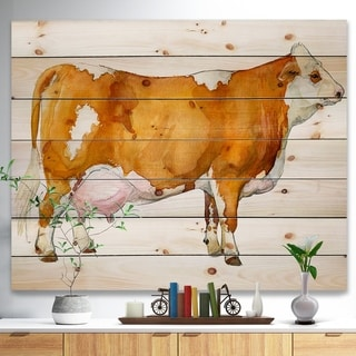 Designart 'Watercolor Dairy cow' Farmhouse Animal Painting Print on Natural Pine Wood - Brown