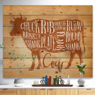 Designart 'Beef cutting scheme craft' Farmhouse Animal Painting Print on Natural Pine Wood - Brown