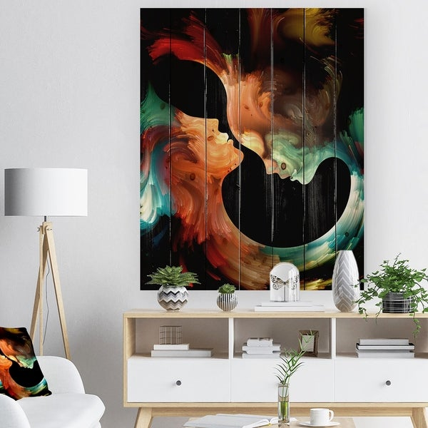 Designart 'Realms of Paint' Abstract People Print on Natural Pine Wood - Black