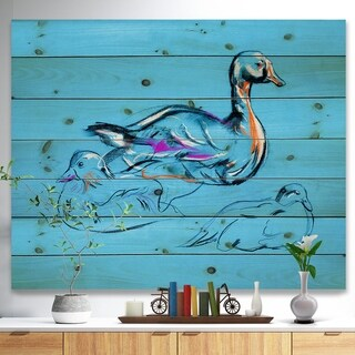 Designart 'Duck painting' Animals Sketch Painting Print on Natural Pine Wood - Blue