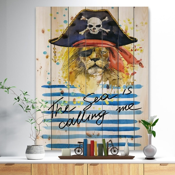 Designart 'Pirate Tiger in hat The Sea is Calling Me' Animals Sea & Shore Print on Natural Pine Wood - White