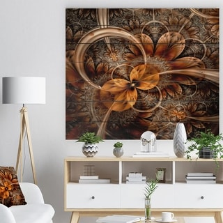 Designart 'Dark Orange Fractal Flower' Abstract Print on Natural Pine Wood